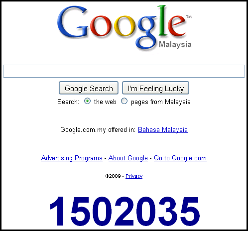 Google countdown to 2010