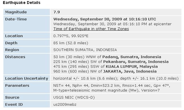 Magnitude 7.9 - SOUTHERN SUMATRA, INDONESIA