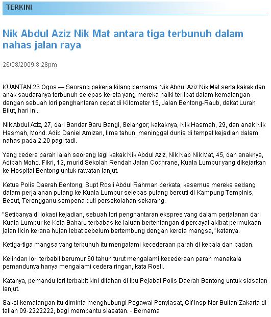 Nik Abdul Aziz Nik Mat kemalangan