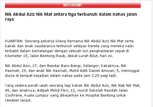 Nik Aziz Kemalangan Berita Harian